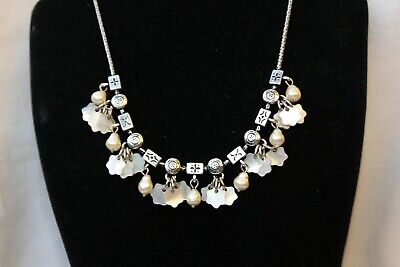 Authentic Brighton Silver Etched Bead Mother Of Pearl Flower Bib Necklace