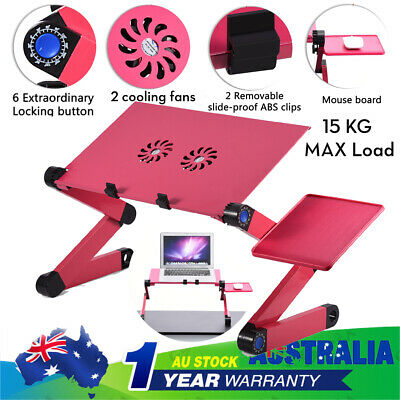 Adjustable Foldable Laptop Desk Table Holder with Cooling Dual Fan+Mouse Boad