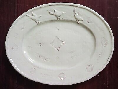 "New Vietri Bellezza Celadon Birds 17"" Oval Serving Platter"