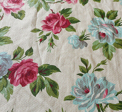 Vintage Shabby Cottage Roses Barkcloth Cotton Fabric ~ Pink Blue Green Gray