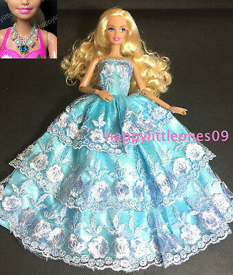 Barbie Doll Blue Dress/Outfit/Gown & Handmade Necklace & Shoes 3 Piece Set New