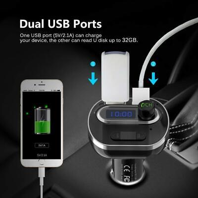 Car, Kit With Dual USB Charging Ports Hands Free Calls, Aux (Upgraded Version)
