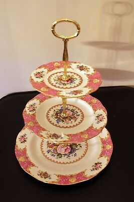 Royal Albert Lady Carlyle 3 plates afternoon tea stand Parkinsons charity