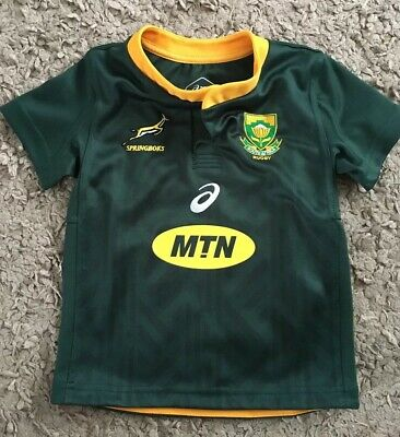 1e16b5f44 SOUTH AFRICA SPRINGBOKS Rugby Striped Tee Shirt By Asics Size Men's ...