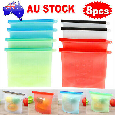 8x Airtight Reusable Silicone Seal Food Storage Food Preservation Bags Container