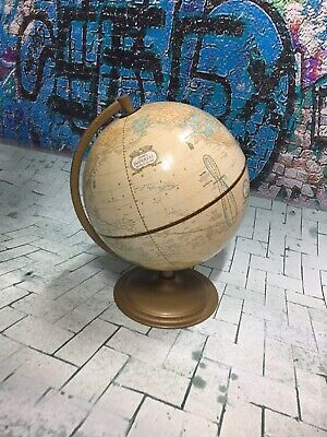 Cute vintage world globe made in the USA with metal base