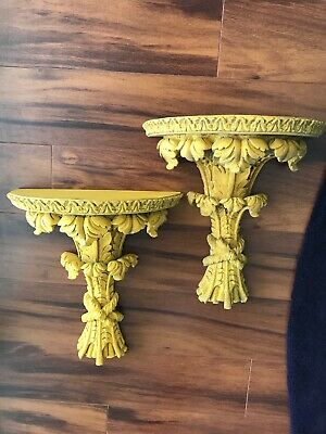 Pair Vintage Carved Wood Wall Shelf / Sconce - Ornate Design. Guild Master