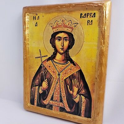 Saint Barbara Varvara Rare Mount Athos Greek Orthodox Byzantine Icon on Wood