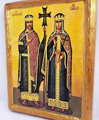 Saint Bladimir & Saint Olga Mount Athos Eastern Orthodox Byzantine Icon on Wood