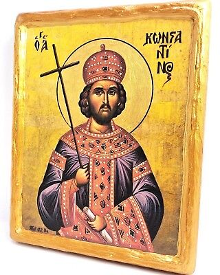 Saint Constantine Konstantinos Mount Athos Greek Orthodox Byzantine Icon on Wood