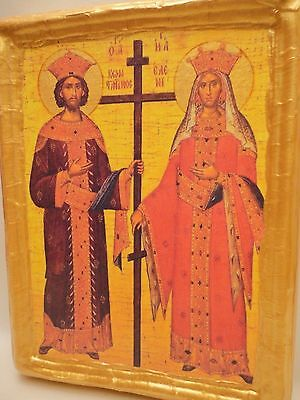 Saint Constantine & Saint Helen Religious Byzantine Greek Orthodox Icon on Wood