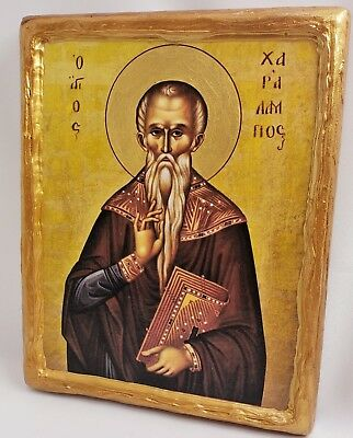 Saint Charalampus  Haralambos Mount Athos Greek Orthodox Byzantine Icon on Wood