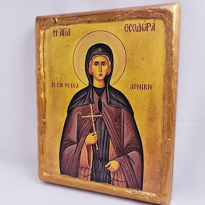 Saint Theodora of Thessaloniki Mount Athos Greek Orthodox Byzantine Icon on Wood