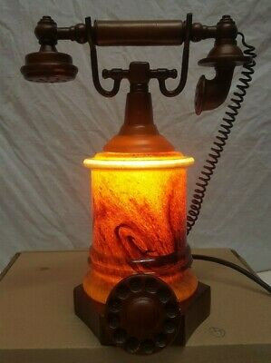 Vintage Rotary Dial Tiffany Style Amber Brown Glass Lamp Telephone Phone Rare