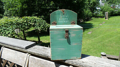 Antique/Vintage Wooden Industrial Box w/hinged lid Rustic Shabby Farmhouse Style