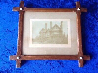 Antique Medium Oak Oxford Picture Frame Complete With Glass And Photograph