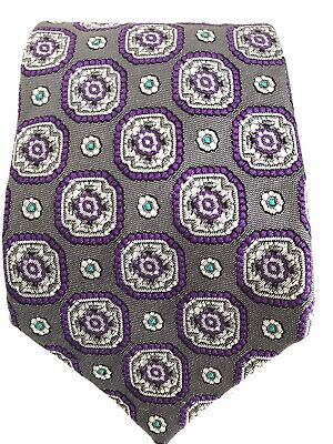 Charles Hill For Tie Rack Pure Silk Purple Patterned Tie Width 9CM