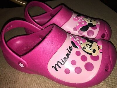 Girls DISNEY MINI MOUSE Clogs Sandals Pink UK 1 EUR 33 Shoes Childs WORN ONCE