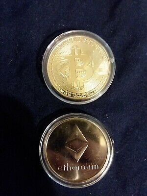 Bitcoin and Ethereum 14kt layered commemorative coin