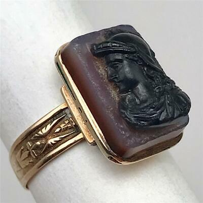 Antique 19thC Victorian Grand Tour Carved Jasper Cameo + 14K Gold Ring Size 8.25