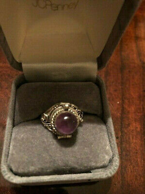 Beautiful Ornate Antique Vintage Poison Ring 925 Sterling Silver Purple Stone