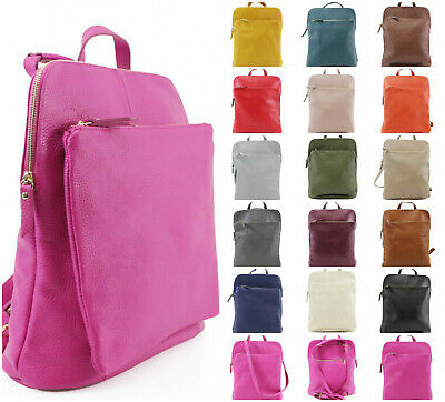 Ladies Real Leather Convertible Backpack Grab Hand Bag Women Shoulder Crossbody