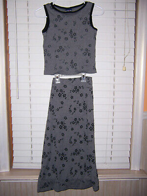 Limited Too Girl's Size 12 Gray/Black 2 Piece Outfit Tank Top With Skirt