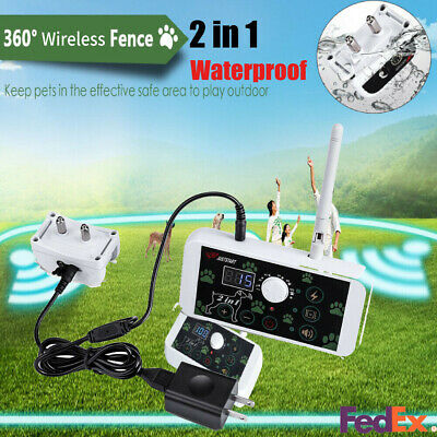 2in1 Wireless Electric Dog Pet Dog Training Collar Fence Containment System US