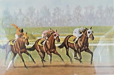 Richard Stone Reeves Signed 1977 Lithograph 61/750 Race of the Year