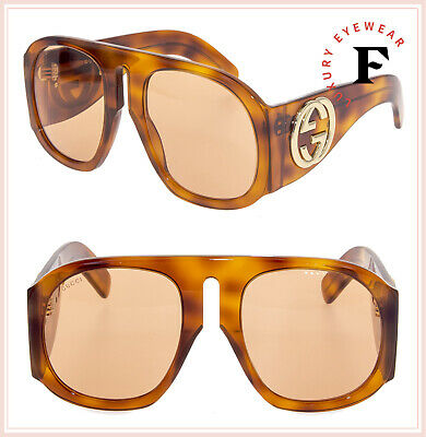 7f5aca804 GUCCI 0152 Blonde Amber Havana Oversized Mask Fashion Unisex Sunglasses  GG0152S