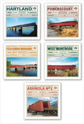"2019 Canada 📭 HISTORIC COVERED BRIDGES 📬 All 5 ""P"" Stamps - MNH L👀K"