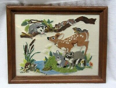 """FOREST FRIENDS Crewel Embroidery Needlework Finished & Framed Glass 18"""" x 14"""""""