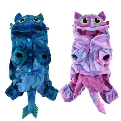 Lovely Pet Cat Dog Warm Coral Velvet Costumes Fly Dragon Halloween Costume #gib