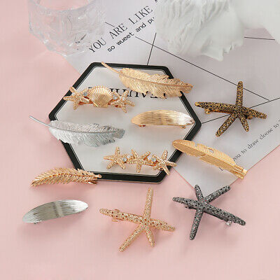 Jewelry Leaf Shape Hair Clip Pearl Starfish Hairpins Hairgrip Feather Barrettes