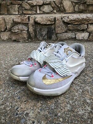 free shipping 4e0ad a6d35 Nike KD 7 VII GS Premium Aunt Pearl White Gold Pink Size 6Y (745407-