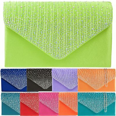 Ladies Pleated Satin Clutch Bag Diamante Prom Evening Bag Wedding Handbag K41074