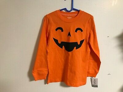 Nwt Carter's Long Sleeve Top Size 4/5 Halloween Pumpkin T-Shirt Boys Msrp $18