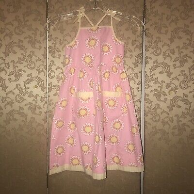 Mini Boden Pink Yellow White Multi-Color Floral Daisy Sun Dress 4 5 Years