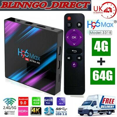New H96 MAX RK3318 Wifi Android 9.0 4G+64G Quad Core Ultra 4K BT4.0 Smart TV Box