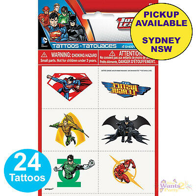 Justice League Party Supplies 24 Tattoos Superhero Birthday Loot Bag Favours