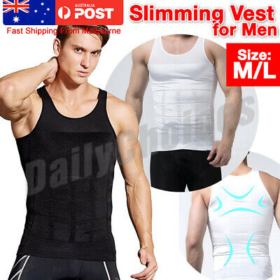 Mens Slimming Body Slim Shaper Underwear Corset Compression Belt Singlet Dad Bod