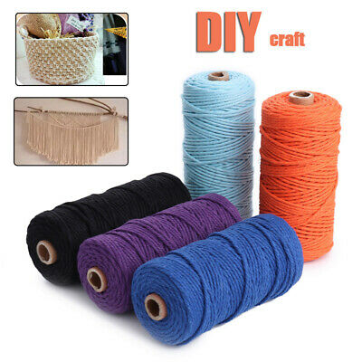 3mm x100m Natural Cotton Twisted Cord Rope Craft Macrame Artisan String 14Colors
