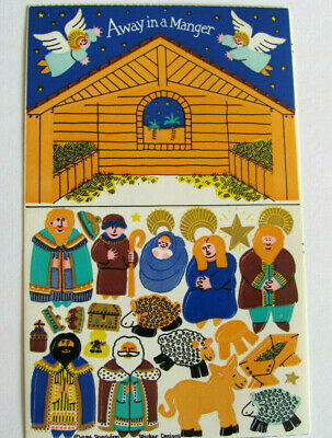 Rare Vtg 80's Sandylion Away in a Manger Angel Christian Maxi Sticker Sheet
