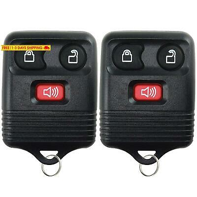 2  Keyless Entry Remote Control Key Fob Clicker Transmitter 3 Button - Black