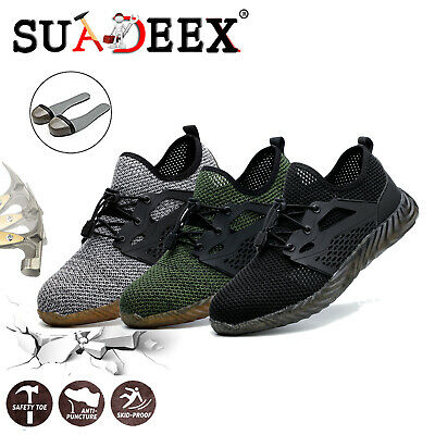 Mens Steel Toe Lightweight Safety Shoes Work Boots Sports Protective Trainers UK