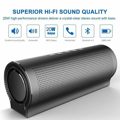 20W Alloy Portable Wireless Bluetooth Speaker Stereo Outdoor BASS USB/TF/AUX MP3