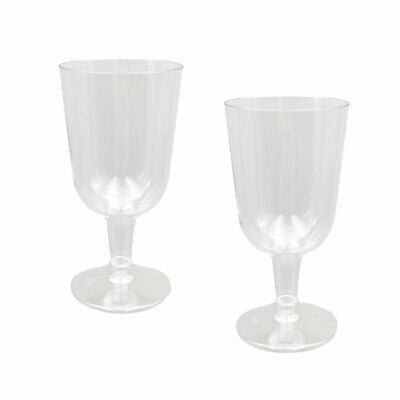 Disposable Plastic Wine Glasses 150ml Drinking Cups Wedding Party Birthday BULK