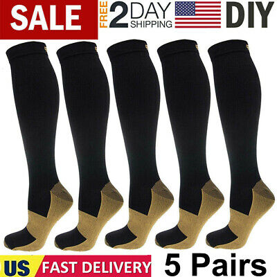 5 Pairs Copper Energy Knee High Compression Socks Recovery Support Socks US