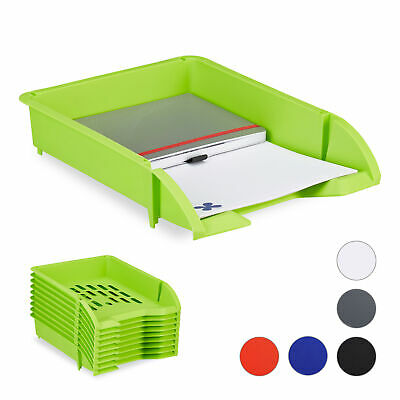 Paper Trays Stackable Set of 10 Document Organizer Letter Tray Plastic A4 Organi