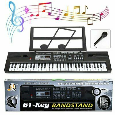 61 Key Digital Electronic Keyboard&Microphone Electric LED Adult Size W/ Stand